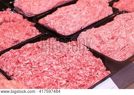 Minced Meat In The Store. Fresh Raw Mince At Butcher Shop