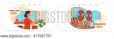 Makeup Artist Landing Page Design, Website Banner Vector Template Set. Professional Visagist Service