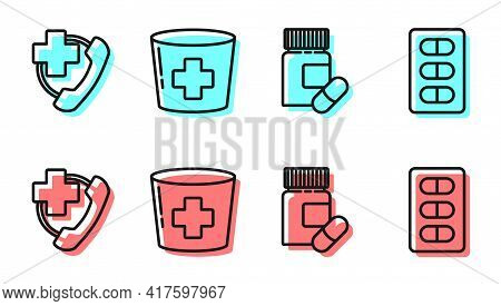 Set Line Medicine Bottle And Pills, Emergency Phone Call To Hospital, Nurse Hat With Cross And Pills