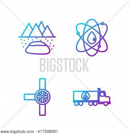 Set Line Tanker Truck, Industry Pipes And Valve, Oilfield And Atom. Gradient Color Icons. Vector