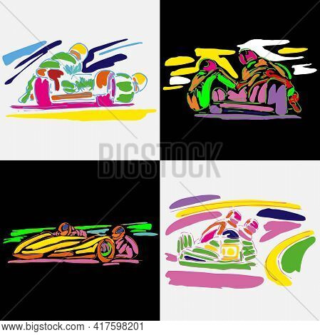 Watercolor Vector Silhouette Of Biker. Motocross Sketch Outline