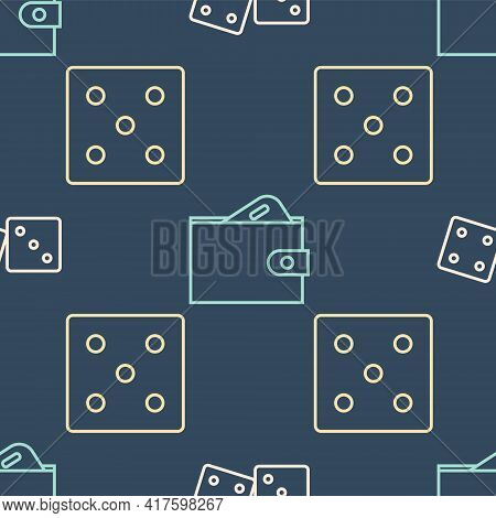 Set Line Game Dice, Game Dice And Wallet With Money On Seamless Pattern. Vector