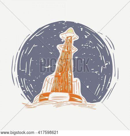Orange light buoy at night cartoon illustration