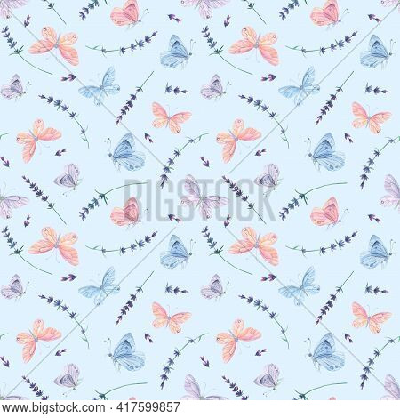 Pink Blue Butterfly Seamless Pattern. Watercolor Lavender Background