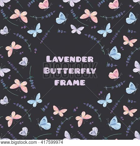 Blue Pink Butterfly Frame. Square Background, Round Place For Text