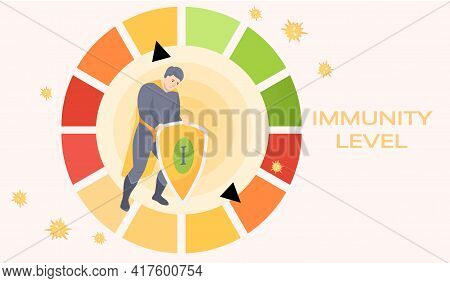 Battle Between Superhero And Viruses As Symbol Of Health. Man In Circular Spectrum Of Immunity Level