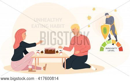 Couple With Cake And Soda On Table. People With Low Level Of Immunity Eat Fatty High-calorie Foods