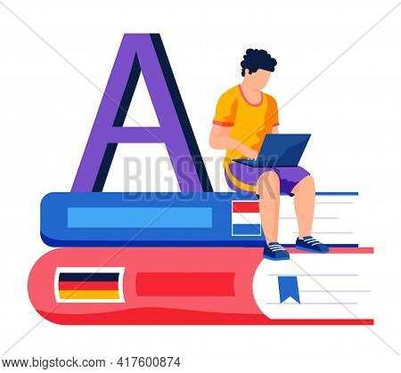 Male Character Studying Languages At Laptop. Remote Student Sitting On Stack Of Dictionaries