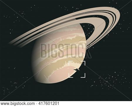 Vector Banner On The Topic Of Extraterrestrial Civilizations. Space Sci-fi Background With Ufo On Th
