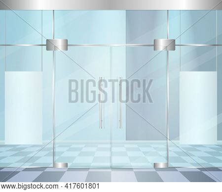 Entrance Doors Facade Realistic 3d Composition With Wall Of Glass And Modern Doors With Metal Hinge