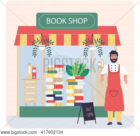 Bookstore Shop Exterior With Male Worker Of Commercial Store Stands At Entrance Near Showcase