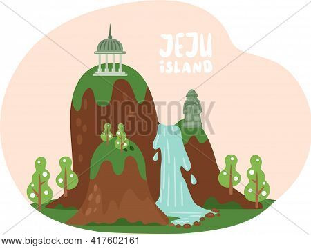 Slope With Flowing Waterfall And Stone Statues. Landscape Of Jeju With Nature And Architecture