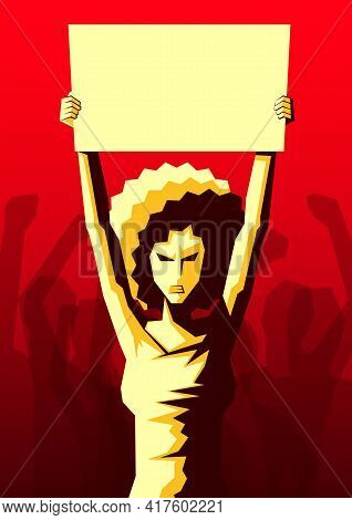 Angry Woman With Afro Hairstyle Raised Up Placard With Copy Space, And Silhouette Of Crowd Of People
