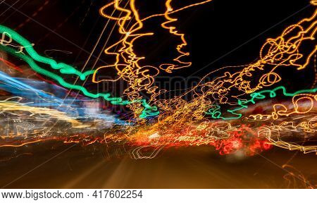Colorful Scribble Light Art Created At Night.