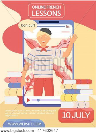 French Teacher In Beret Shows Greeting On Phone Screen. Online Language Lesson Concept Poster