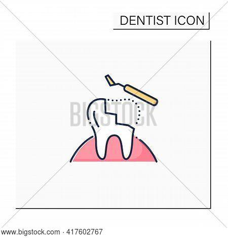 Restorative Dentistry Color Icon. Tooth Care Includes Dental Implants, Dental Bridges, Dental Bondin