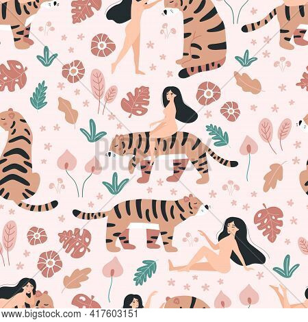 Vector Seamless Pattern With Nude Beauty Women And Tigers. Doodle Tropical Flowers On Pink Backgroun