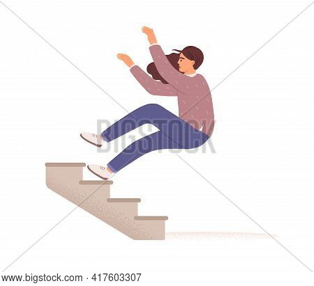 Employee Falling Down From Career Ladder. Fall Of Woman From Stairs. Failure, Fiasco, Problem, Troub