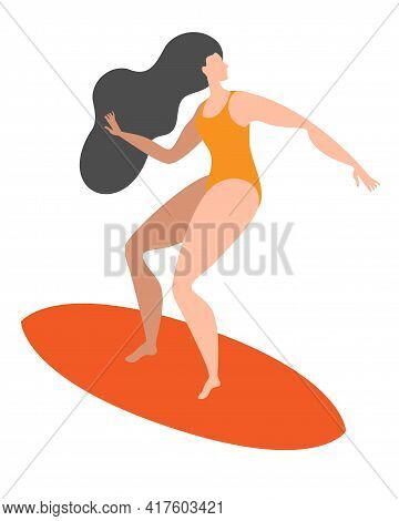 A Girl In A Swimsuit Is Surfing On A Board. Isolated Vector Illustration In A Flat Style.