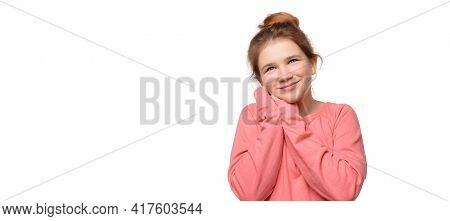 Young Girl 12-14 Years Old Feeling Happiness, Waiting For Good Thing Happen, Smiling Leaning Face On