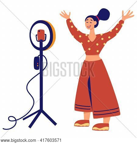 Girl In Front Circular Light Line Vector Illustration. Recording New Video Blogger Important Process