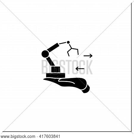 Fixed Asset Management Glyph Icon. Industrialization.tracking Fixed Assets For Purposes Of Financial