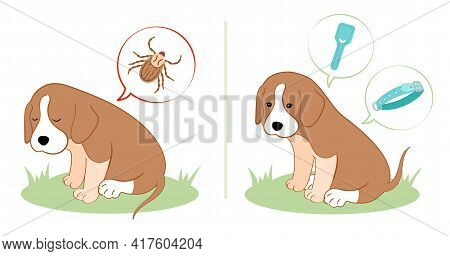 Vector Illustration Puppy Dog Feels Bad From A Tick Bite. Tick Season, Dog Grooming. Dog Feels Good