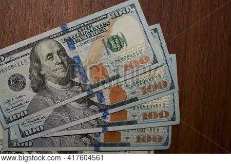Dollars Banknotes On The Table, Close-up. U.s. Dollars. 500 American Dollars. Paper Money, Currency,