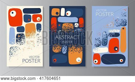 Abstract Organic Colored Shapes, Warm Color, Smooth Lines, Dots Texture. Background Template With Co