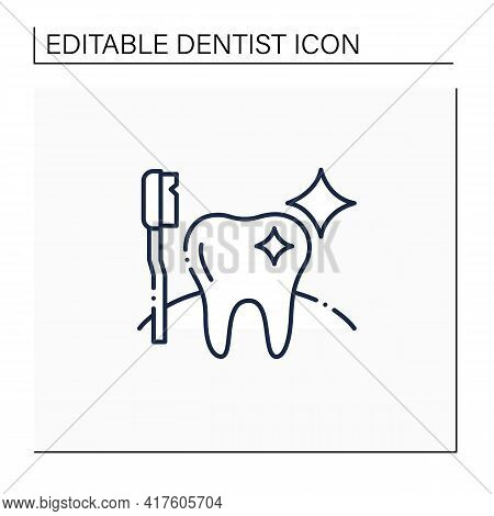 Oral Hygiene Line Icon. Healthy Tooth With Perfect Smile. Good Oral Care Concept. Timely Oral Care.
