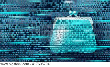 Programming Online Money Wallet. Online Market Trade Concept. Data Flow Binary Code. E-commerce Fina