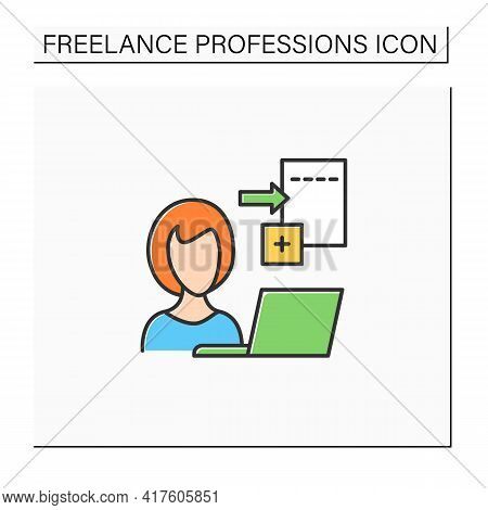 Data Entry Jobs Color Icon.handle Different Types Of Electronic Data And Operating Devices.enter Inf