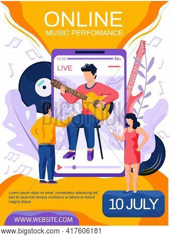 Content Creator Musician Is Playing Guitar With Live Music Online Music Performance Concept Poster