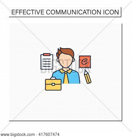 Written Communication Color Icon. Conveying Messages Through Written Symbols. Documentary. Writing F