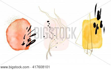 Pink Gold Abstract Arrangement. Elegant Collection. Yellow Gold Shape Decoration. Rustic Vector Desi
