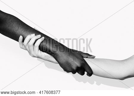 Diverse hands holding each other for BLM movement social media post