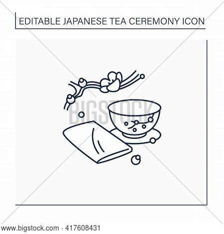 Chakin Line Icon. Special Rectangular Cloth Used To Wipe Teacup. Japanese Ethnic And National Ceremo