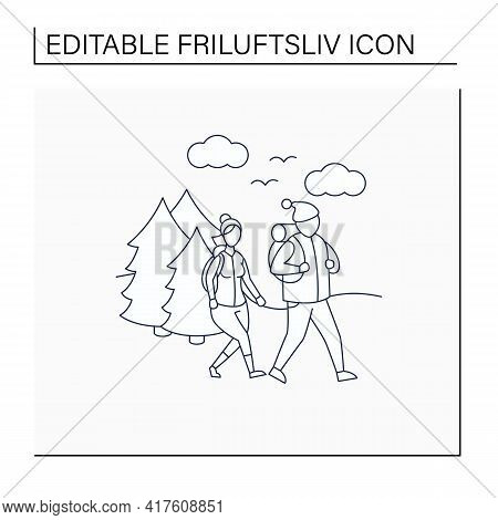 Friluftsliv Line Icon. Family Hiking. Man And Woman Walking In Forest. Nice Weather. Nature Landscap