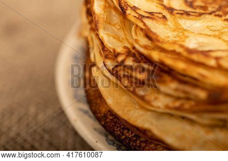 Traditional Russian Pancakes. Shrovetide Week Of Spring Meeting. Seeing Off Winter. Close-up, Select