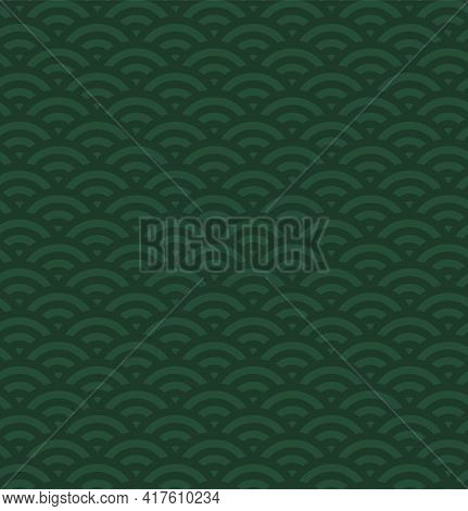 Traditional Oriental Ocean Waves Abstract Geometric Seamless Pattern, Dark And Light Green Backgroun