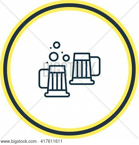 Vector Illustration Of Beer Steins Icon Line. Beautiful Drink Element Also Can Be Used As Draught Ic