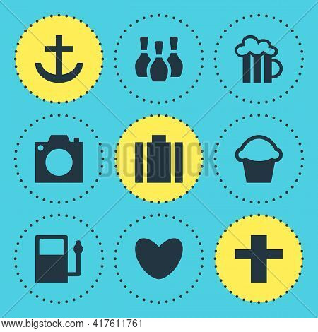 Vector Illustration Of 9 Location Icons. Editable Set Of Harbor, Bakery, Religion And Other Icon Ele