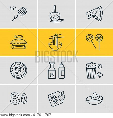 Vector Illustration Of 12 Gourmet Icons Line Style. Editable Set Of Lollipop, Pizza, Waffles And Oth