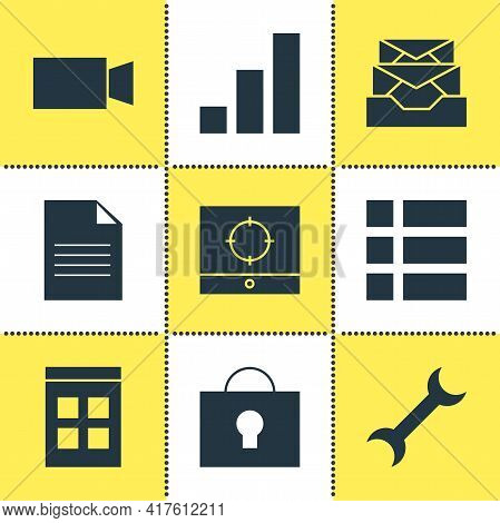 Vector Illustration Of 9 Web Icons. Editable Set Of File, Inbox, Lock And Other Icon Elements.