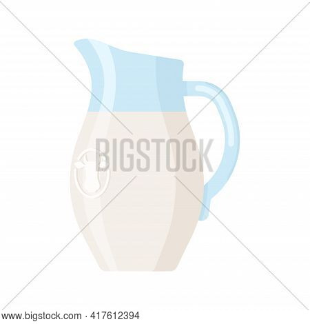 Flat Style Icon Of Milk Jug Isolated On White Background. Colorful Vector Milk Glass Jar Icon. Flat
