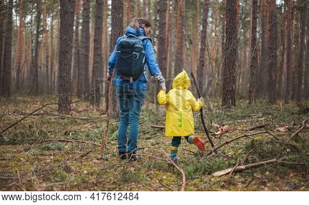 Mom And Child Walking In The Forest After Rain In Raincoats With Wooden Sticks In Hands, Back View