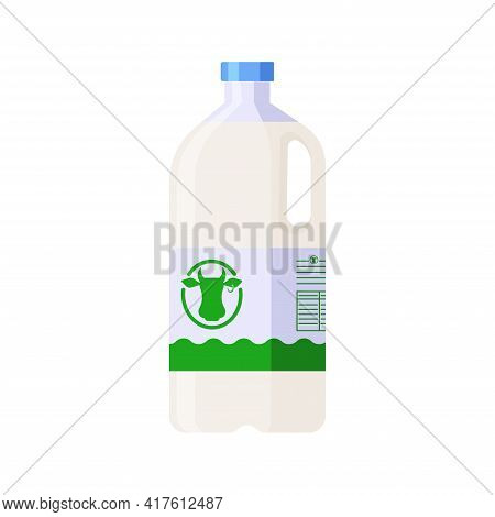 Flat Style Plastic Bottle Of Milk Isolated Icon On White Background. Colorful Vector Milk Plastic Co