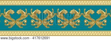 Scythian Ethnics. Scythian Ornament Seamless. Zoological Style. Historical Seamless Pattern. Norther