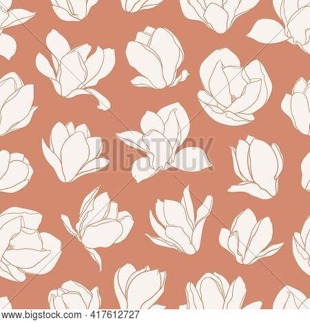 Seamless Pattern With Magnolia Flowers. Modern Minimalistic Style, White Blooming Buds On An Orange