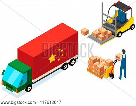 Mover Puts Boxes With Parcels Into Wagon. Loading Car Before Shipping. China Delivery Truck